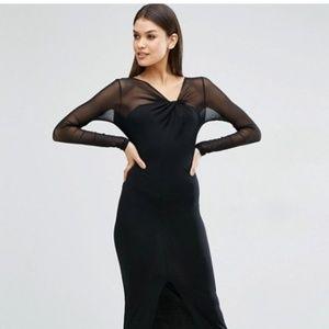 asos sheer sleeve maxi dress with slit